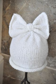 All girl sparkly bowtop beanie by BabesinKnots on Etsy