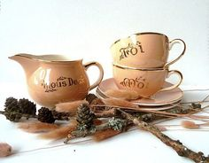 Vintage french  YOU & ME  Tea set  coffee set and by CabArtVintage,