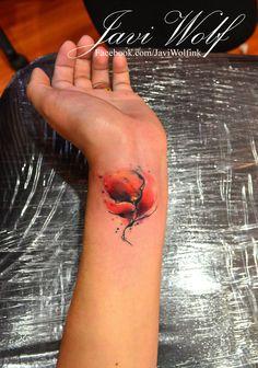 beautiful wrist flower watercolor tattoo