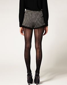 ASOS Crystal Embellished Back Seam Tights