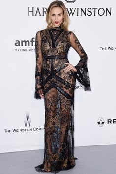 Natasha Poly wearing Roberto Cavalli transparent dress at Gala AmfAR at Cannes 2016 - Gala contra el sida