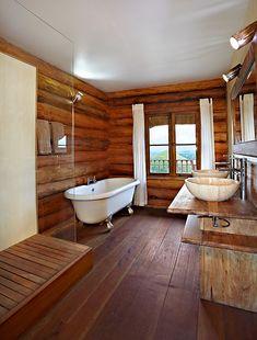 Fantastic woodwoork in a guest bathroom at Kyaninga Lodge; Kiable Forest, Uganda...