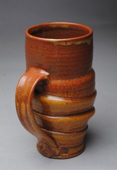 Clay Mug Beer Stein Red and Orange by JohnMcCoyPottery on Etsy, $28.00 www.etsy.com/shop/JohnMcCoyPottery