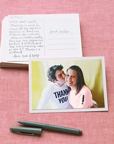 Here is a cute idea for the casual couple. Grab some blank tees in your favorite colors or match them to the theme wedding colors, add a message on them of thanks and attach each photo to a blank size-A6 postcard, and voila! ~ picture-perfect postcards.Right after your engagement photo session, while you two are still looking good, put on your tees and ask a friend to snap a few digital photos of you two. Or have your engagement photographer take a few at the end of your session.Sour