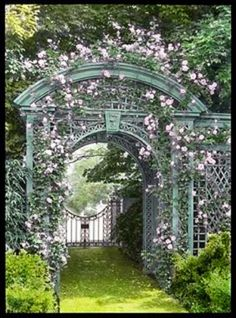 Rose arbor arch at Sunken Orchard, Oyster Bay, New York. Once one of the most beautiful gardens on the north shore of Long Island's Gold Coast, only fragmented ruins remain. Please see previous post for more on Sunken Orchard. Garden Archway, Garden Arbor, Garden Gates, Garden Landscaping, Herb Garden, Garden Entrance, Garden Benches, Entrance Gates, Fruit Garden