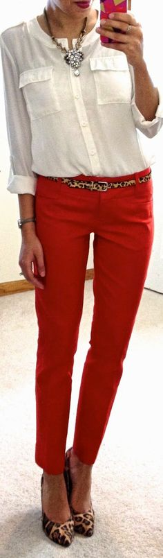 Work Outfit: White button down, red pants, leopard belt, leopard heels