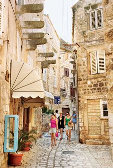 If you like Santorini, try Hvar.    This gorgeous Croatian island off the Dalmatian coast is only just popping up on the American radar—attracting A-listers like Steven Spielberg, Jay-Z, and Beyoncé.    The Adriana in Hvar Town is by far the most stylish retreat on the island: Its modern rooms and terraced gardens provide loads of eye candy, from the yacht-lined marina to the Venetian-style piazza; suncanihvar.com.