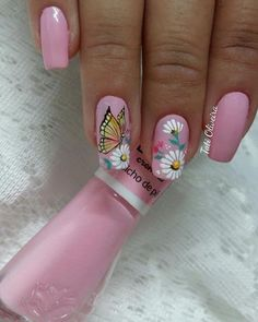 Natural Nail Designs, Gel Nail Designs, Cute Nails, Pretty Nails, Sunflower Nail Art, Butterfly Nail Art, Animal Nail Art, Flower Nails, Beautiful Nail Art