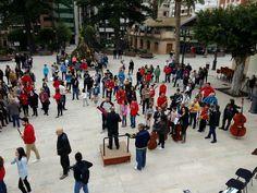"""El Ateneo Musical de Cullera graba un """"flashmob"""" en su 120 aniversario en los jardines del mercado de Cullera"""