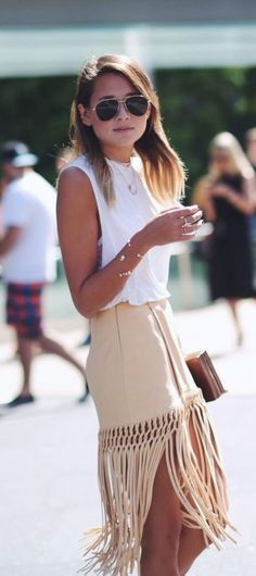 Pocahontas Fringed Suede Skirt 2017 Street Style