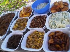 Fried fish, liver & onions, fritters, breadfruit chips, salt fish & ackee, fried ripe plantain, potato salad & hash browns. It's a beach buffet!