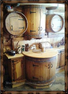 This would be cute for my coffee bar Rustic Kitchen Cabinets, Kitchen Decor, Kitchen Design, Barrel Furniture, Log Furniture, Bar Sala, Outdoor Kitchen Bars, Cabin Kitchens, Log Homes