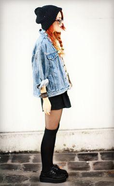 oversized denim jacket + long socks