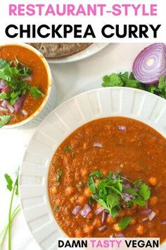 Restaurant style vegan chickpea curry (chana masala). Easy to make and easy to find ingredients. If you're craving curry take out, but want to make it at home, you will love this recipe. #vegan #curry #chickpeacurry #chanamasala Masala Curry, Vegan Indian Recipes, Delicious Vegan Recipes, Ethnic Recipes, Vegan Chickpea Curry, Standard Recipe, Masala Spice, Tofu Dishes