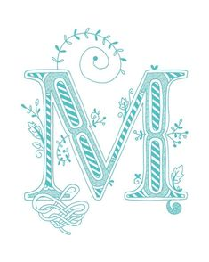 Hand drawn monogrammed print, 8x10, the Letter M, in the color blue. $15 *I like this for my office