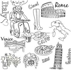 Sightseeing in Italy doodles  Stock Vector