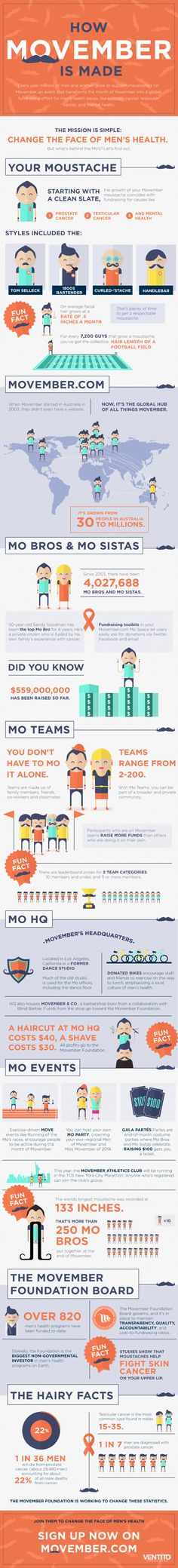 How Movember is Made #infographic #Movember #Cancer #Mustaches #infografía