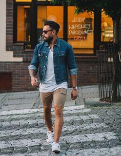 デニムジャケット白Tシャツ,ショートパンツ,メンズ