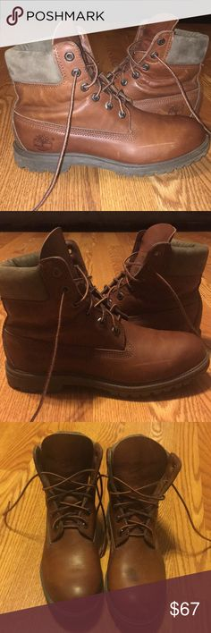 Genuine leather timberland boots Really nice shiny brown/orange color like a viola , very rare color(hard to find) no scratches just marks that can be easily fixed with wax , pretty good condition, no real flaws , man - made , best for winter and fall , greyish cushion (Vintage/antique vibe) Timberland Shoes Winter & Rain Boots
