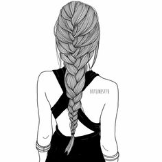 I love to draw braids. I'm good at them irl too I love to draw braids. I'm good at them irl too I love to draw braids. I'm good at them irl too Outline Drawings, Pencil Art Drawings, Art Drawings Sketches, Cute Drawings, Outline Art, Girl Drawings, Tumblr Girl Drawing, Tumblr Sketches, Tumblr Drawings