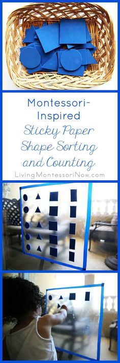 Ideas for creating a Montessori-inspired sticky paper shape sorting and counting activity for toddlers and preschoolers; part of the Cool Maths for Cool Kids series