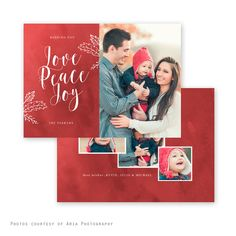 Peace Red Holiday Card - Christmas card - baby announcement- Offered through Jen Boutet Photography in Charlottesville, Va.