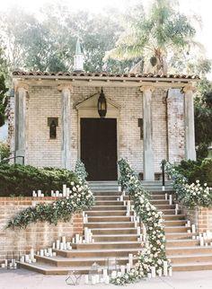 Staircase Wedding Entrance with Candles and Greenery Decor #wedding #weddingideas #ceremony #weddingceremony #greenery