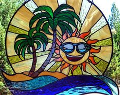 "Stained Glass Suncatcher, Beach Scene with Palm Trees and Wave, ""Endless Summer"", Beach Decor, Surf Art, Ocean Wave, Tropical Window Hanging"