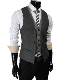 Mens premium Business casual layered style slim vest (Dark gray) #theleesshop