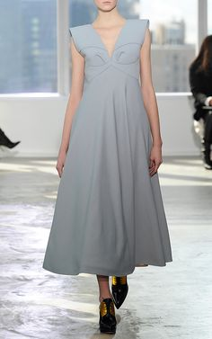 Dress With Half Cape Cut Skirt by DELPOZO for Preorder on Moda Operandi