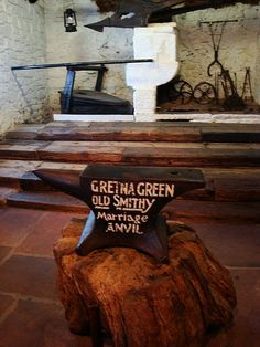 Old Smithy marriage anvil, Gretna Green -  Gretna Green is a village in Scotland, where couples would elope to, because they could be married by hand fasting, and have it sealed by a Blacksmith. The Blacksmith would seal it by bringing his hammer down on the anvil. Also, being married in a forge would drive away the faeries, due to the cold iron.