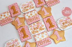 pink and gold twinkle, twinkle little star 1st birthday cookies