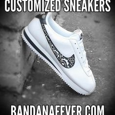 White Bandana Print Custom Nike Cortez Shoes Lea W/B - Bandana Fever - Bandana Fever Nike Cortez Shoes, All Nike Shoes, Sneakers Nike, Custom Converse Shoes, Custom Sneakers, Custom Shoes, Design Nike Shoes, Baskets, Fresh Shoes