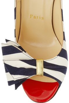 Christian Louboutin Just Soon 85 striped canvas pumps NET-A-PORTER.COM red white and navy blue