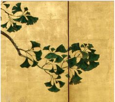 Detail. Rimpa school. Late Edo Period (1615-1867). Chrysanthemum and Ginko Tree. folding screen Ink, color and gofunmoriage on silver and gold ground. Painted without outlines