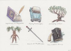 Harry Potter and the Chamber of Secrets -- Harry Potter Inspired Artifact Illustrations, by Hannah B Pacious.