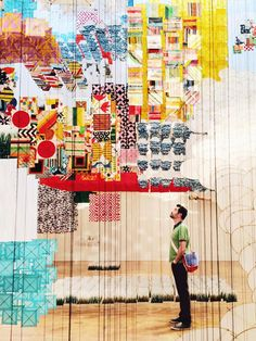 Jacob Hashimoto Gas Giant paper and wood installation MoCA at Pacific Design Center