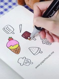 Ice Cream Doodles Ideas👉www.me💝 Holen Sie sich 3 US-Dollar mit dem Code 💝Paperhouse Stationery - Sınırsız Bilim Art Drawings For Kids, Pencil Art Drawings, Drawing For Kids, Easy Drawings, Marker Kunst, Marker Art, Pen Art, Doodle Art For Beginners, Art Tutorial