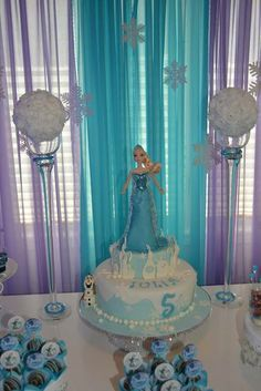 Disney Frozen Birthday cake! See more party ideas at CatchMyParty.com!