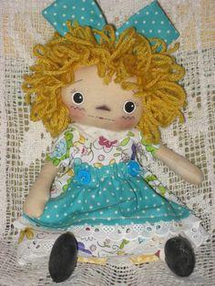 Primitive Raggedy Ann Fabric Annie  Brendi Dolls turquoise