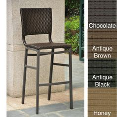 International Caravan Barcelona Resin Wicker/aluminum Outdoor Bar Height Stools…