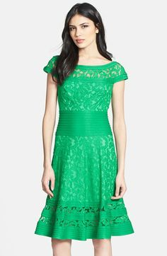 Cap Sleeve Lace Fit & Flare Dress