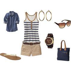 Khaki shorts. Nautical tank top. Denim button down. Beach fashion. Navy blue tote.