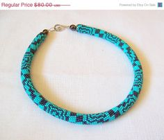 CHRISTMAS SALE Bead crochet necklace with geometric by lutita, $72.00