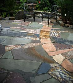 Stone Patio - Love the colors and the random placement of the stones.