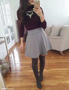 pleated skirt + knee high boots