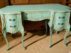 Vintage French Provincial Hand Painted Aqua Distressed Desk on Etsy, $350.00