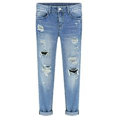 HUAHUI Women's Blue Street Fashion Bleached Ripped Jeans ($37) ❤ liked on Polyvore featuring jeans, bleached blue jeans, distressed jeans, destructed jeans, destruction jeans and distressing jeans