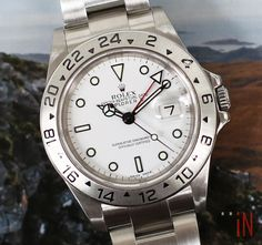 """""""Stranded Up North!""""#Rolex 40mm Explorer II White Dial Z Serial, 2007Ref#: 16570 ($4,975.00 USD)http://www.elementintime.com/Rolex-Explorer-II-16570-Stainless-Steel-40mm-White-Dial-Used"""