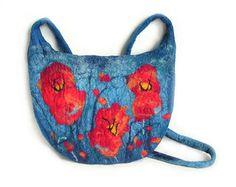 Felted bag felt bag felt handbag wool bag blue red floral flower flowers boho winter art bag OOAK